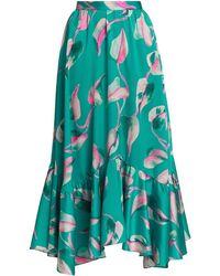 PATBO Pandola Printed Handkerchief Hem Midi Skirt - Blue