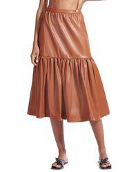 STAUD Orchid Vegan Leather Tiered Midi Skirt - Brown