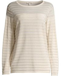 Lafayette 148 New York Sheer Yoke Stripe Long-sleeve T-shirt - Multicolor