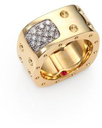 Roberto Coin - Pois Moi Diamond & 18k Yellow Gold Two-row Square Ring - Lyst
