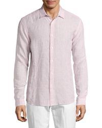 Orlebar Brown - Linen Long Sleeve Button-down Shirt - Lyst
