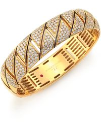 Roberto Coin | Appassionata Diamond & 18k Yellow Gold Bangle Bracelet | Lyst