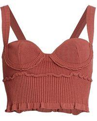 Altuzarra Piper Knit Bustier Crop Top - Red
