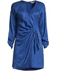 Parker Linda Print Silk-blend Wrap Dress - Blue