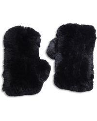 Surell Rabbit Fur Texting Gloves - Black