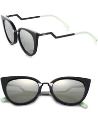 054584347ee Fendi - Women s Zig-zag Arm 52mm Cat Eye Sunglasses - Black - Lyst