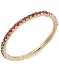 Ileana Makri 18k & Ruby Thread Band Ring - Metallic