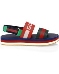 35b8a754115 Lyst - Gucci Stripe Strap Sandal in Blue for Men