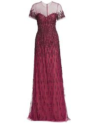 Pamella Roland Tulle Sequin Embellished Gown - Purple