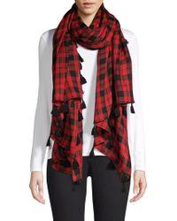 Bajra - Check Wool & Silk Tassel Scarf - Lyst