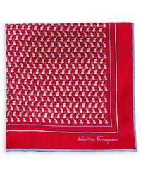 Ferragamo Elephant-print Pocket Square - Red