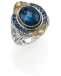 Konstantino Thalassa London Blue Topaz, 18k Yellow Gold & Sterling Silver Ring - Metallic