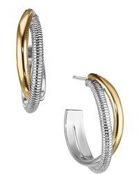 Judith Ripka Eternity 18k Yellow Gold & Sterling Silver Round Hoop Earrings - Metallic