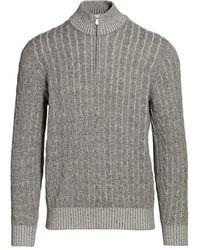 Brunello Cucinelli Vanise Cable Knit Half-zip Sweater - Gray