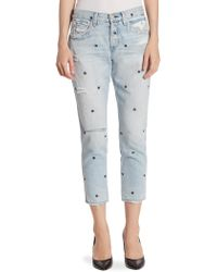 AMO | Tomboy Cropped Floral-embroidered Jeans | Lyst