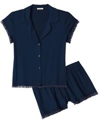 Eberjey Iona 2-piece Ruffle Pajama Set - Blue