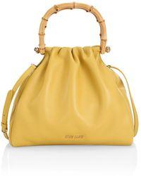 Miu Miu Leather & Bamboo Top Handle Bag - Yellow