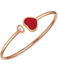 Chopard 18kt Rose Gold Happy Hearts Diamond Bangle - Multicolor