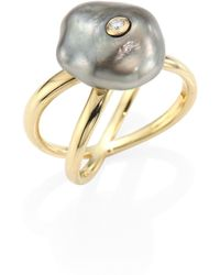 Mizuki | Diamond, 10mm Grey Baroque Tahitian Pearl & 14k Yellow Gold Crossover Ring | Lyst