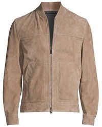 Theory Fletcher Suede Bomber Jacket - Brown