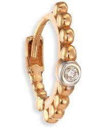 Kismet by Milka - Diamond & 14k Rose Gold Single Hoop Earring - Lyst