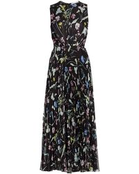 Jason Wu Floral Pleated Midi Dress - Black