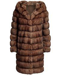 Saks Fifth Avenue Hooded Sable Fur Long Coat - Brown