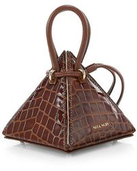 Nita Suri Lia Croc-embossed Leather Pyramid Top Handle Bag - Brown