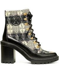 Tory Burch Miller Lug-sole Bouclé Hiking Boots - Black