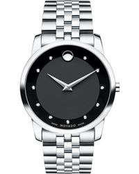 Movado - Museum Classic Stainless Steel Diamond Bracelet Watch - Lyst