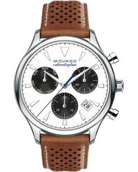 Movado - Heritage Stainless Steel Laser Cut Leather Strap Watch - Lyst
