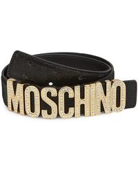 Moschino Logo Plaque Belt - Black