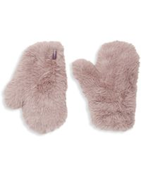 Glamourpuss Signature Knitted Faux Fur Mittens - Natural