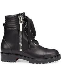 Christian Louboutin En Hiver Leather Combat Boots - Black