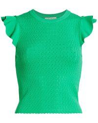 Alice + Olivia Lamara Pointelle Flutter-sleeve Top - Green