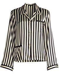 Morgan Lane Ruthie Striped Silk Charmeuse Pajama Top - Black