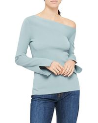 Theory Asymmetric Off-the-shoulder Top - Blue