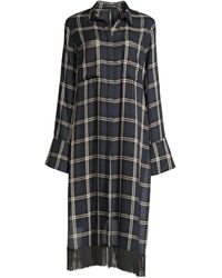 Mother Of Pearl Delphine Fringed Plaid Tunic Shirt - Blue