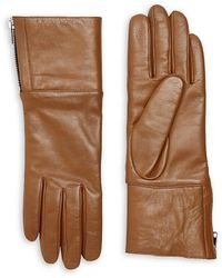 Carolina Amato Touch Tech Leather & Shearling Gloves - Brown