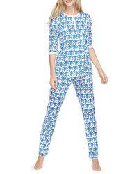 Roberta Roller Rabbit Monkey Print 2-piece Pajama Set - Blue