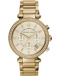 Michael Kors - Parker Pave Goldtone Stainless Steel Chronograph Bracelet Watch - Lyst