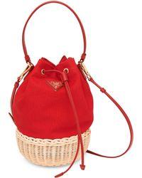 Prada - Canvas And Wicker Bucket Bag - Lyst