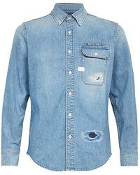 G-Star RAW Bristum Distressed Denim Shirt - Blue