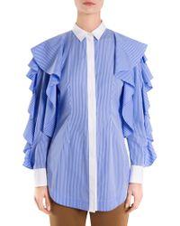 Sara Battaglia - Striped Ruffle Sleeve Blouse - Lyst