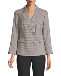 Donna Karan - Double-breasted Houndstooth Blazer - Lyst
