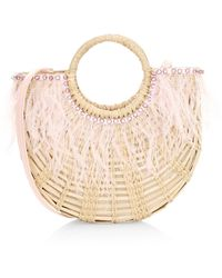 Poolside The Holly Feather-trimmed Straw Tote - Pink