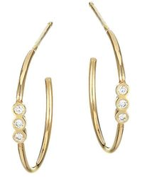 Zoe Chicco 14k Yellow Gold Diamond Small Hoop Earrings