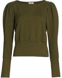 AG Jeans Walker Puff-sleeve Cotton Sweatshirt - Green