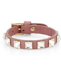 Valentino - Leather Crystal Studded Bracelet - Lyst