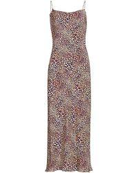 Adriana Iglesias Gloria Jaguar-print Silk Slip Dress - Purple